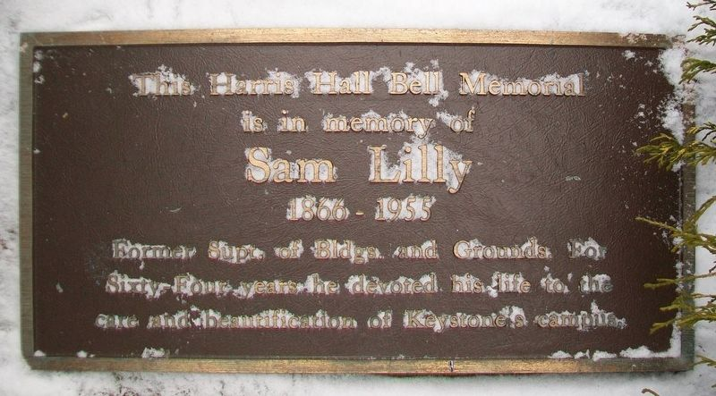 Harris Hall Bell Memorial Marker image. Click for full size.