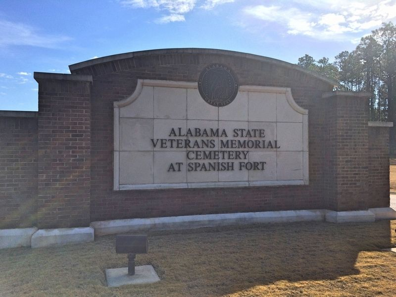 Alabama State Veterans Memorial Cemetery at Spanish Fort entrance. image. Click for full size.
