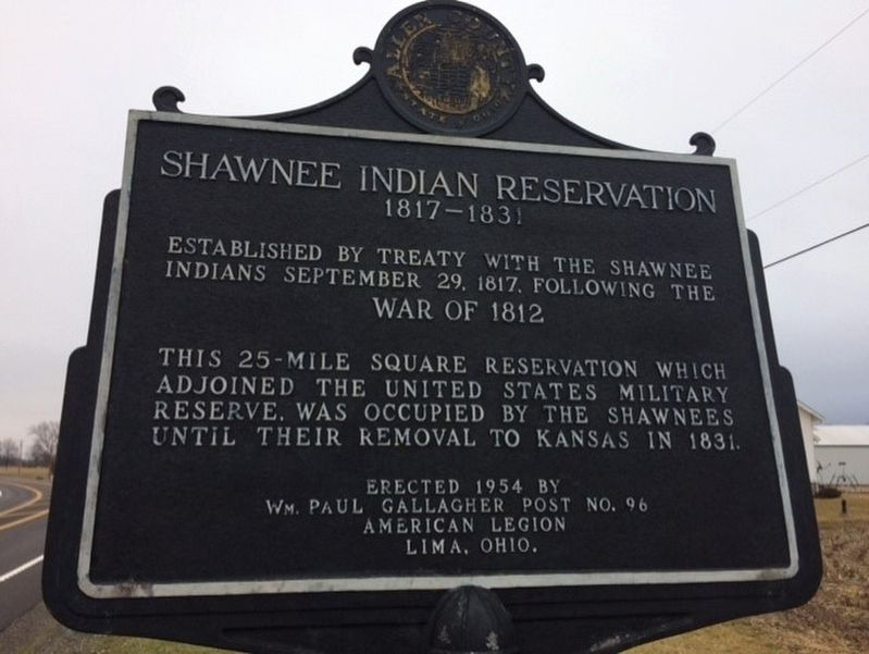 Shawnee Indian Reservation / U.S. Military Reserve Marker image. Click for full size.