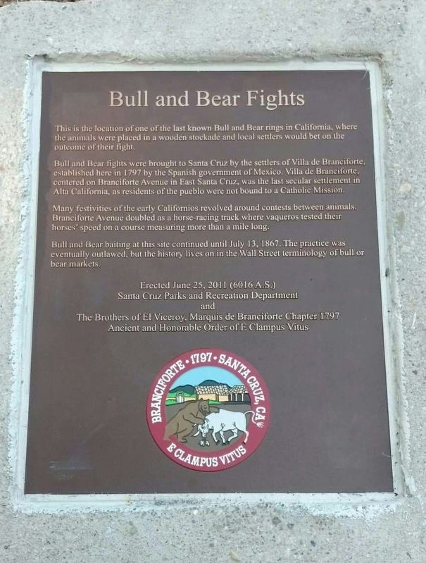 Bull and Bear Fights Marker image. Click for full size.