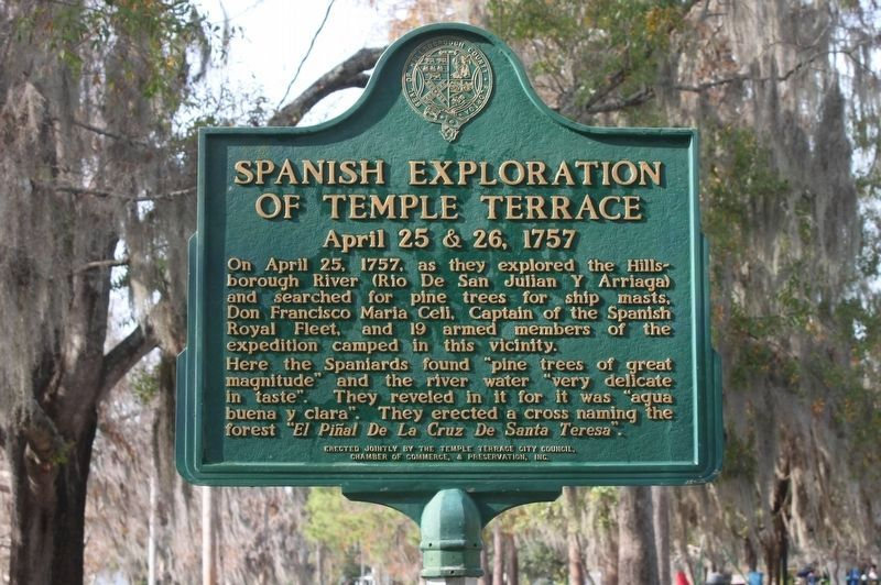 Spanish Exploration of Temple Terrace Marker image. Click for full size.