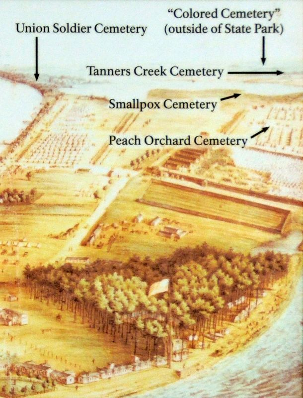 Cemeteries at Point Lookout image. Click for full size.