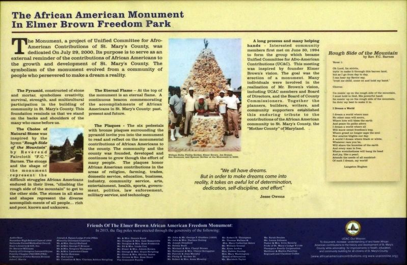 The African American Monument In Elmer Brown Freedom Park Marker image. Click for full size.