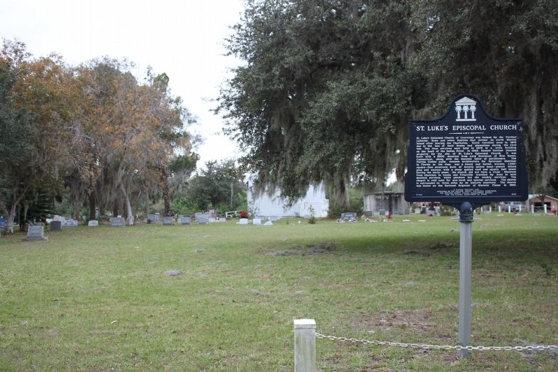 St. Luke's Episcopal Church Marker, church and cemetery image. Click for full size.