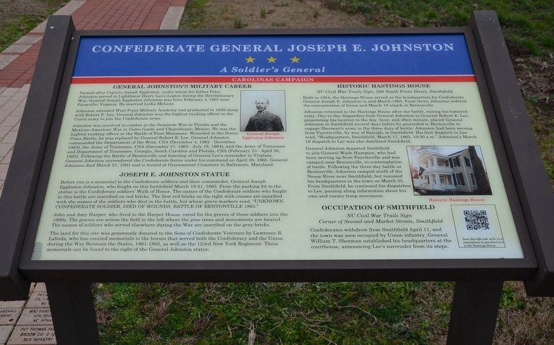 Confederate General Joseph E. Johnston Wayside Exhibit Marker image. Click for full size.