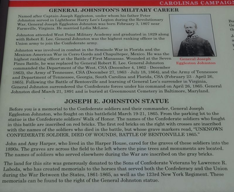 Confederate General Joseph E. Johnston Marker image. Click for full size.