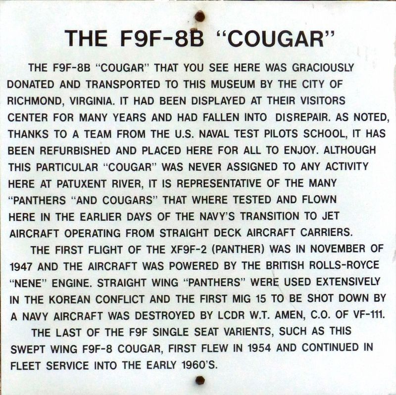 "The F9F-8B ""Cougar"" Marker image. Click for full size."