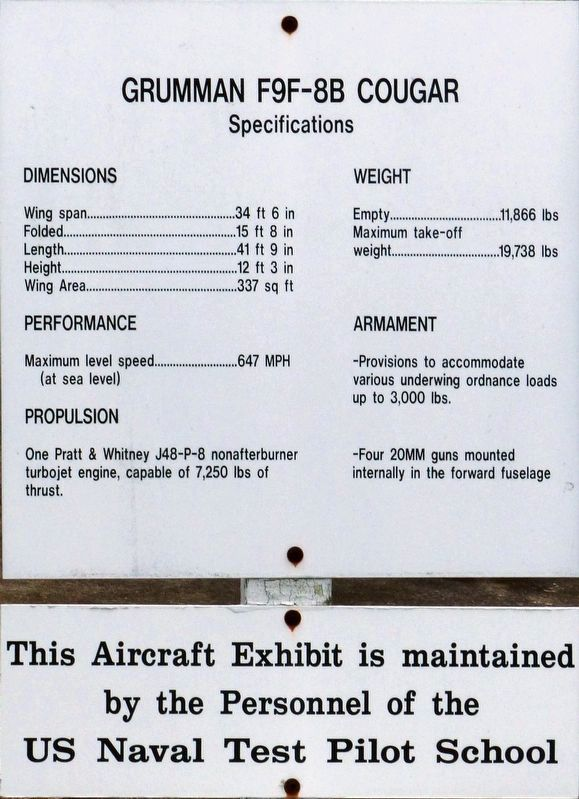 "The F9F-8B ""Cougar"" Marker - Specifications image. Click for full size."