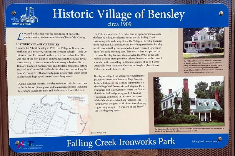 Historic Village of Bensley Marker image. Click for full size.