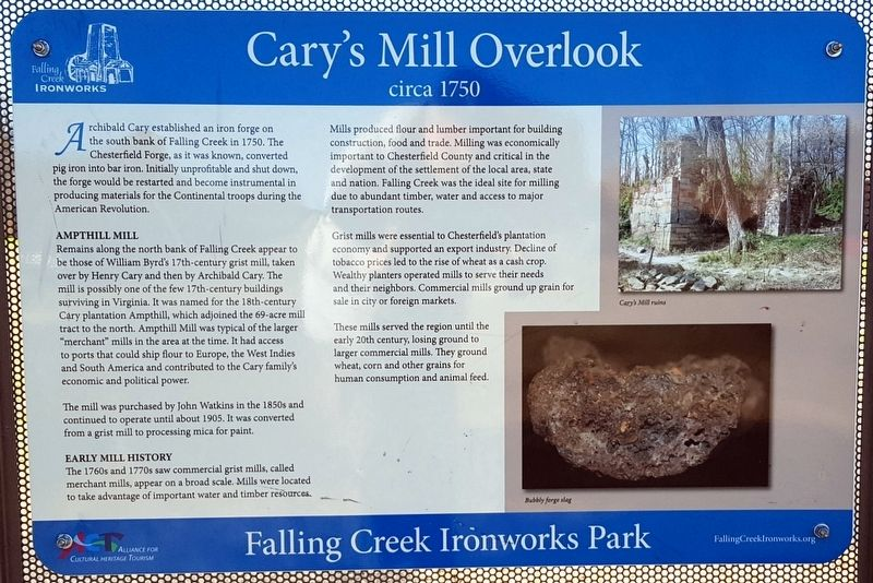 Cary's Mill Overlook Marker image. Click for full size.