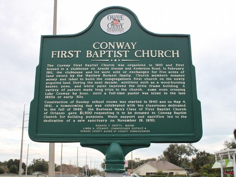 Conway First Baptist Church/Fort Gatlin Marker image. Click for full size.