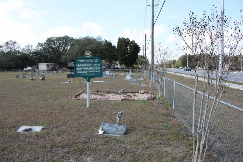 Double Branch Baptist Church and Cemetery Marker in cemetery image. Click for full size.