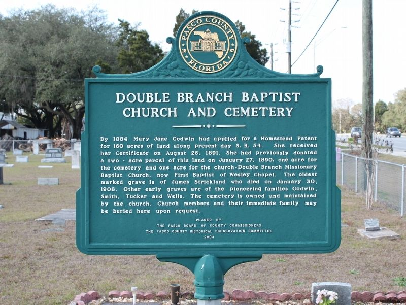 Double Branch Baptist Church and Cemetery Marker image. Click for full size.