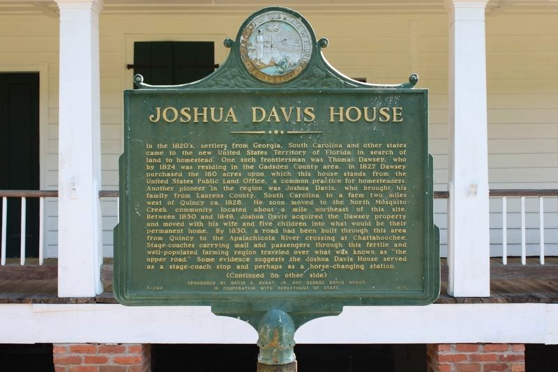Joshua Davis House Marker Side 1 image. Click for full size.