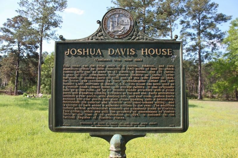 Joshua Davis House Marker Side 2 image. Click for full size.