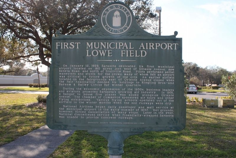 First Municipal Airport Lowe Field Marker image. Click for full size.