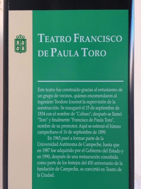 Additional Francisco de Paulo Toro Theater Marker image. Click for full size.
