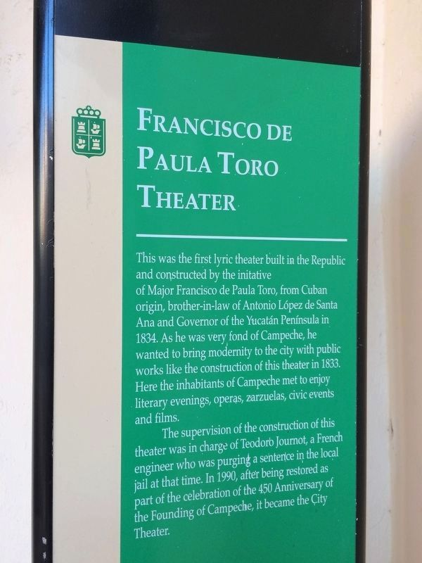 English text of additional Francisco de Paulo Toro Theater Marker image. Click for full size.
