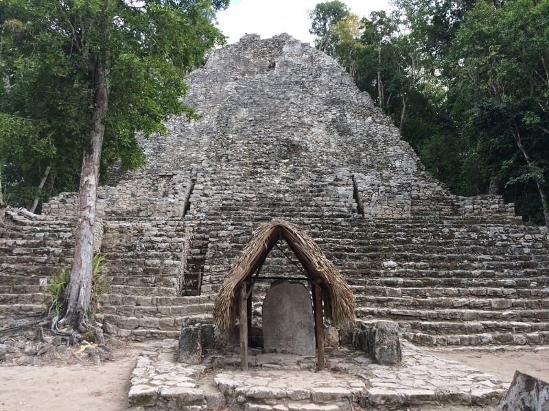 "The ""Iglesia"" Temple and Stela 11 at the Cobá Group. image. Click for full size."