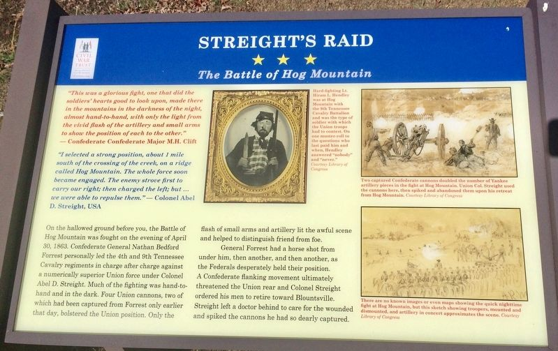 Streight's Raid - The Battle of Hog Mountain Marker image. Click for full size.