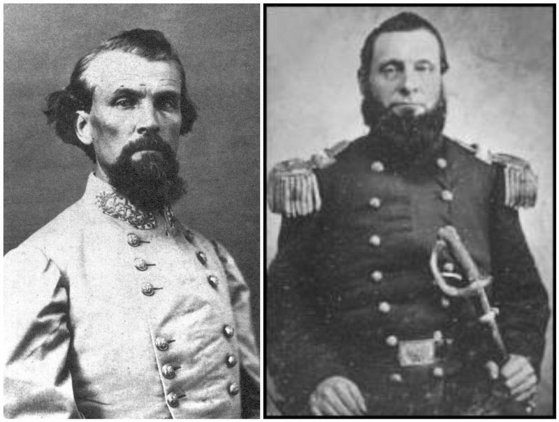 General Nathan Bedford Forrest (C.S.A.) / Colonel Abel Delos Streight (U.S.A.) image. Click for full size.