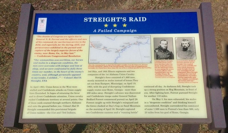 Streight's Raid — A Failed Campaign Marker image. Click for full size.
