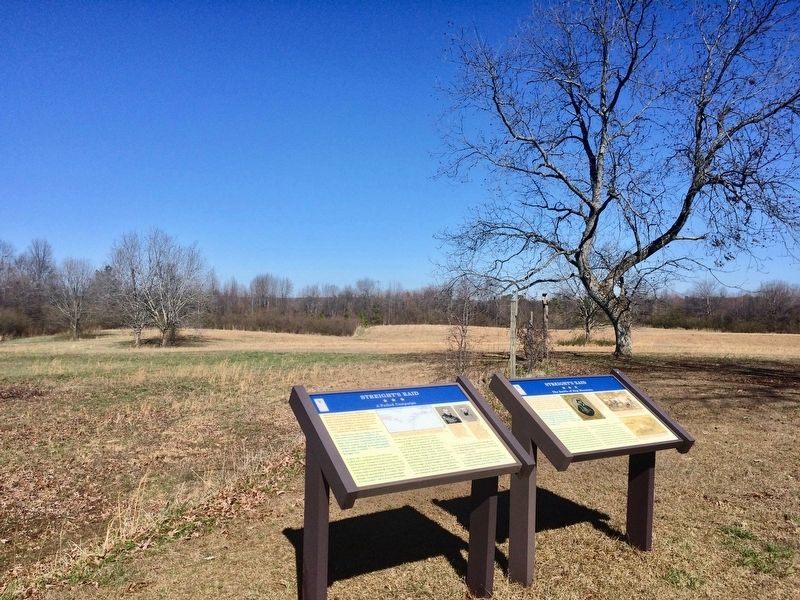 View of marker looking towards area of action near Hog Mountain. image. Click for full size.
