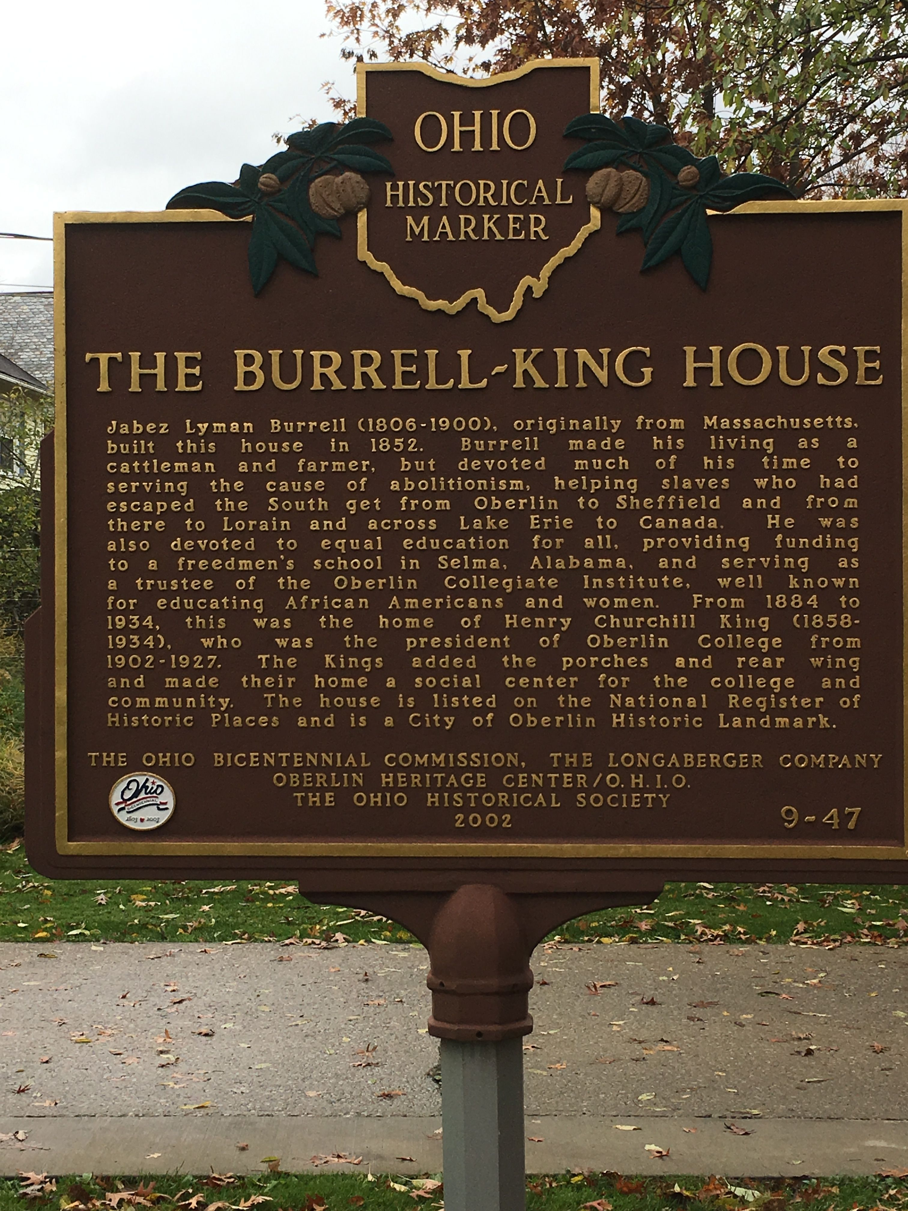 The Burrell-King House Marker
