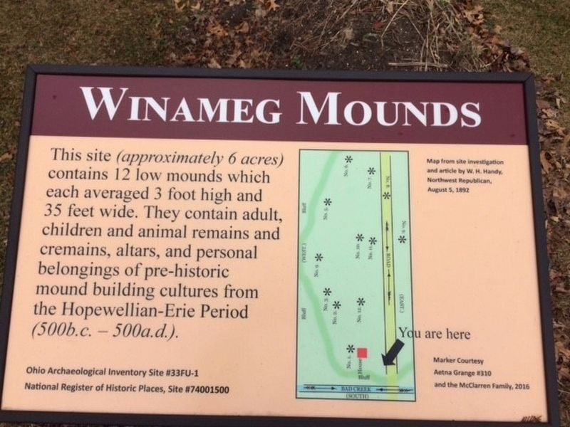 Winameg Mounds Marker image. Click for full size.