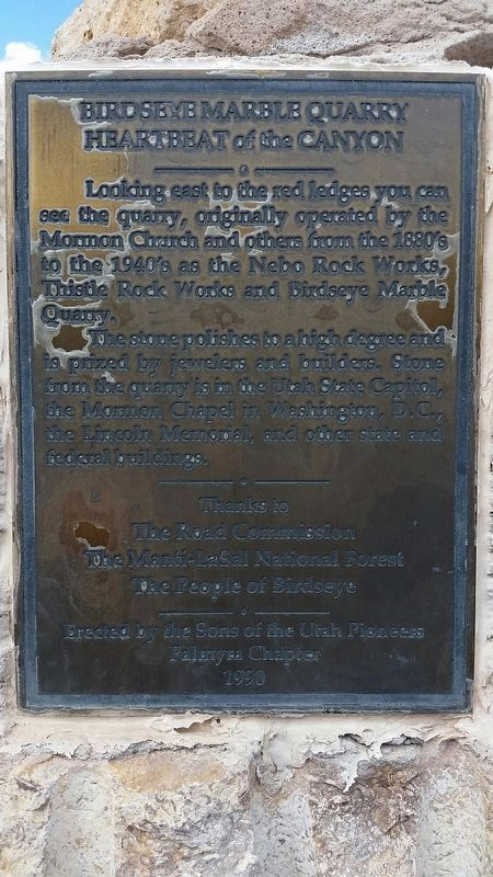 Birdseye Marble Quarry Marker image. Click for full size.
