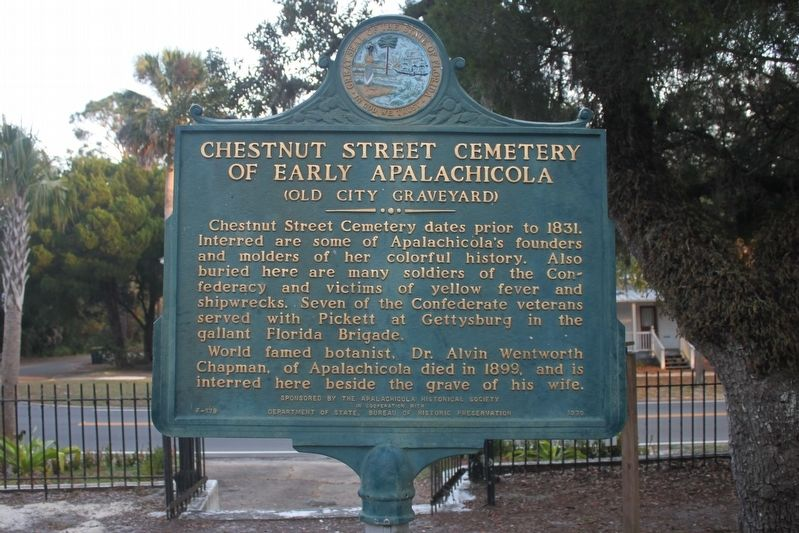Chestnut Street Cemetery of Early Apalachicola Marker image. Click for full size.