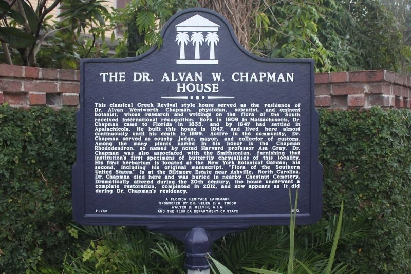 The Dr. Alvan W. Chapman House Marker image. Click for full size.