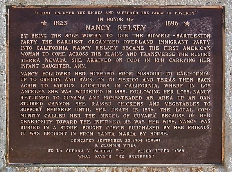 In Honor of Nancy Kelsey Marker image. Click for full size.