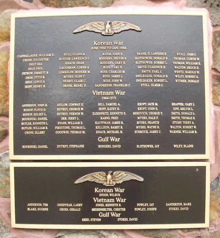 Korean War, Vietnam War, Gulf War Memorial Marker image. Click for full size.