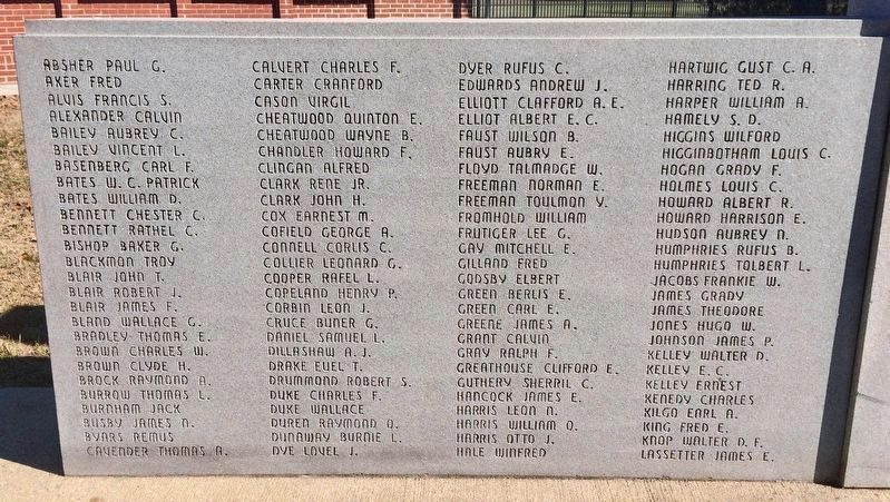 Closeup of WWII Memorial Roll of Honor(A-L) image. Click for full size.