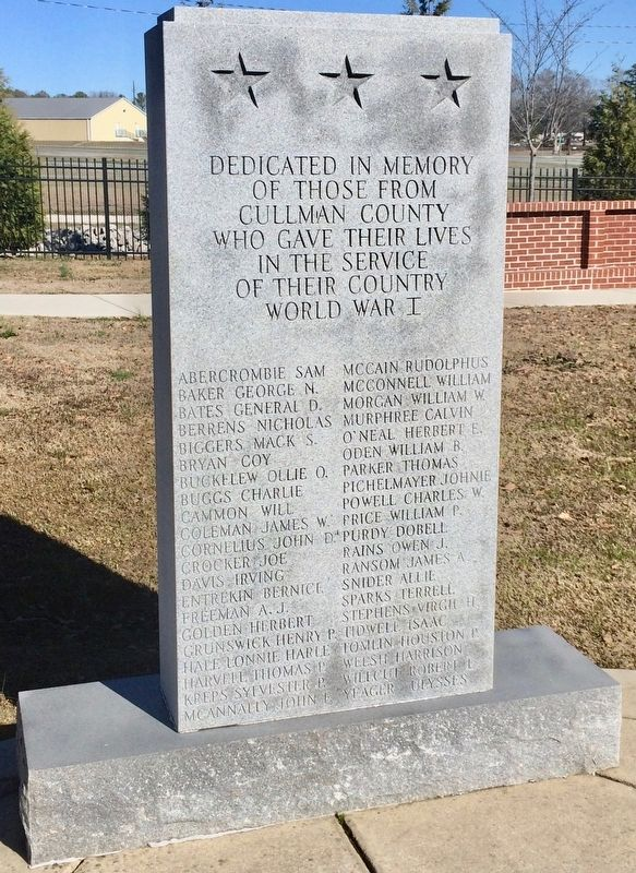 Cullman County World War I Memorial image. Click for full size.