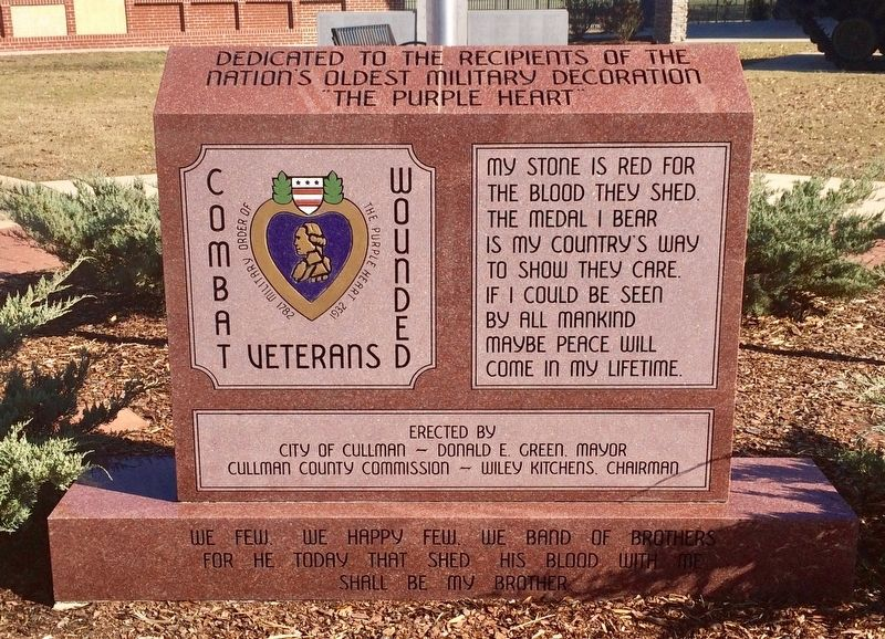 Combat Wounded Veterans Purple Heart Monument image. Click for full size.
