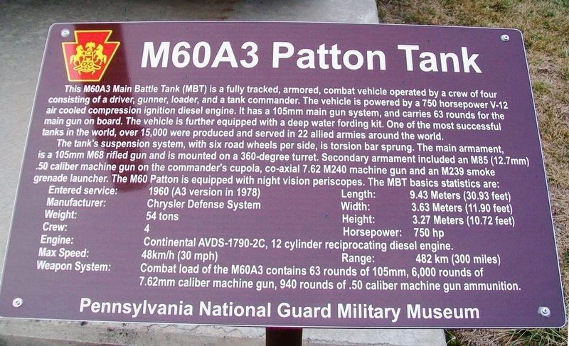 M60A3 Patton Tank Marker image. Click for full size.