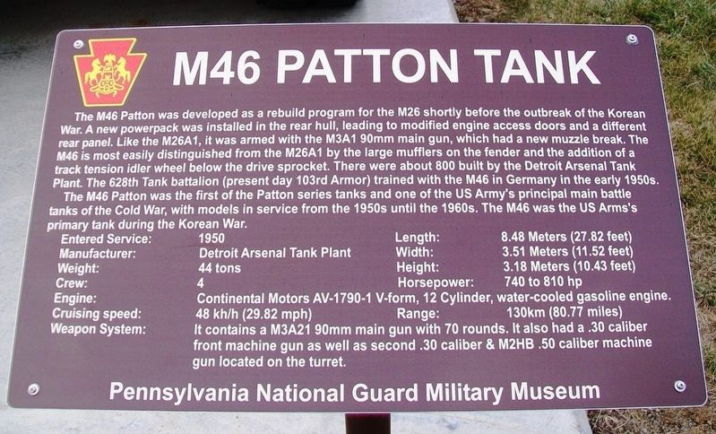 M46 Patton Tank Marker image. Click for full size.