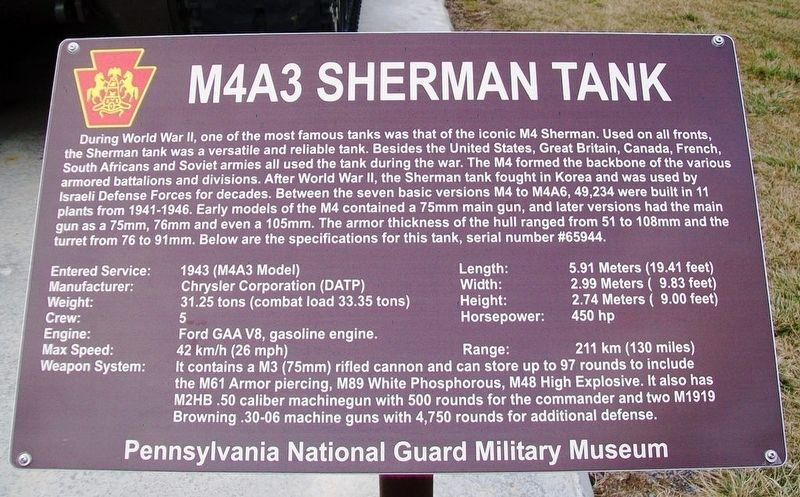M4A3 Sherman Tank Marker image. Click for full size.