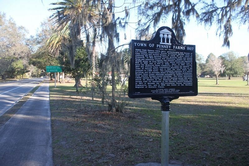 Town of Penney Farms 1927 Marker looking east along FL 16. image. Click for full size.