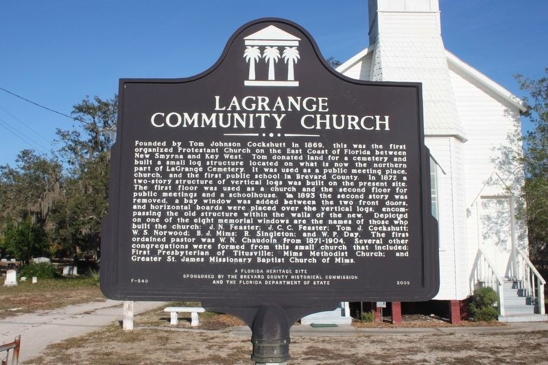 LaGrange Community Church Marker image. Click for full size.