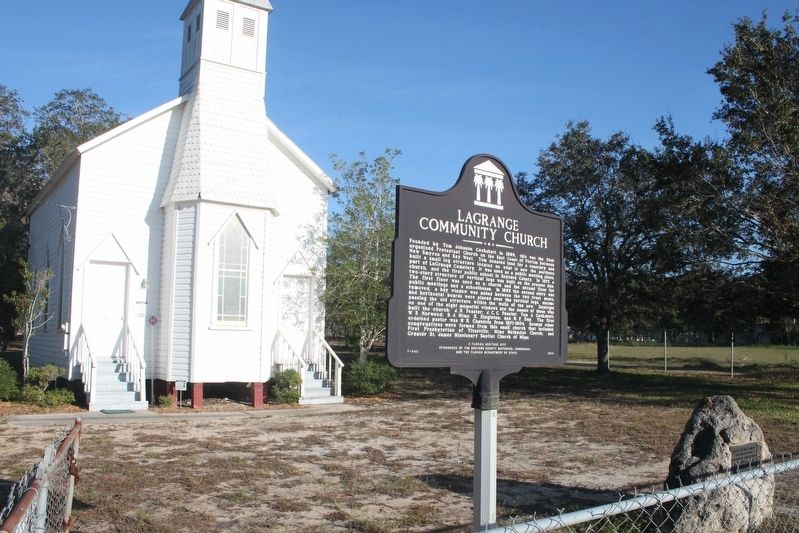 Site of First Church Marker with state marker and church image. Click for full size.
