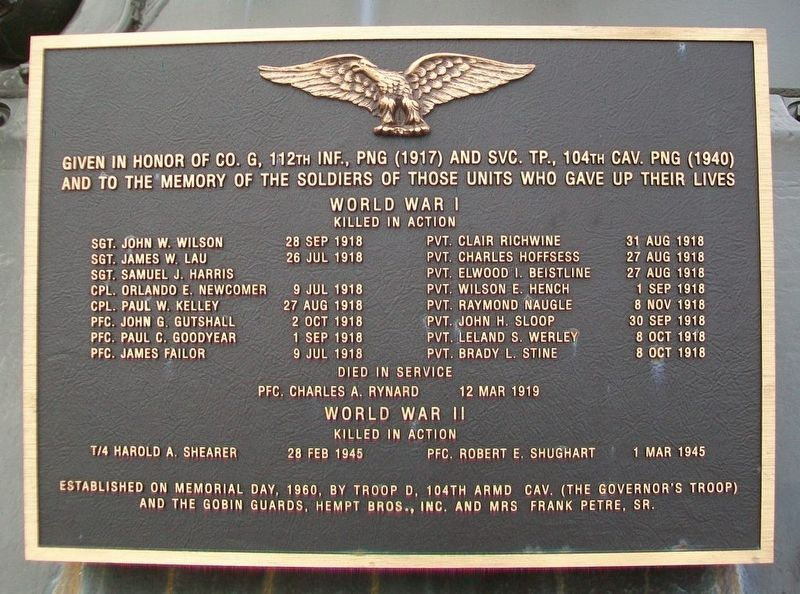 Company G, 112th Infantry, and Service Troop, 104th Cavalry, War Memorial Marker image. Click for full size.