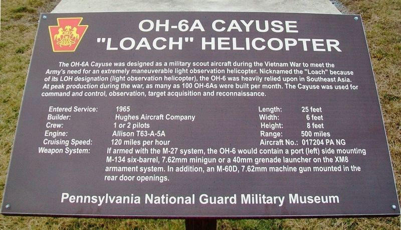 Current OH-6A Cayuse Marker image. Click for full size.