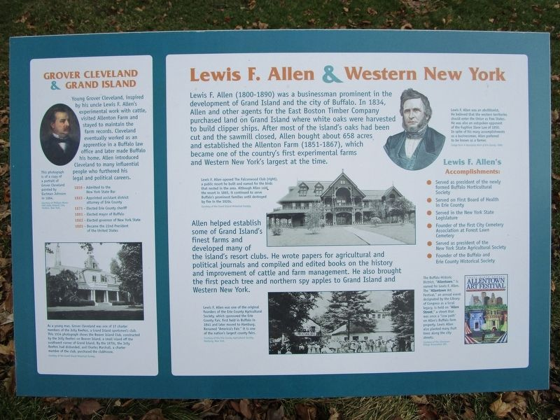 Grover Cleveland & Grand Island/Lewis F. Allen & Western New York Marker image. Click for full size.