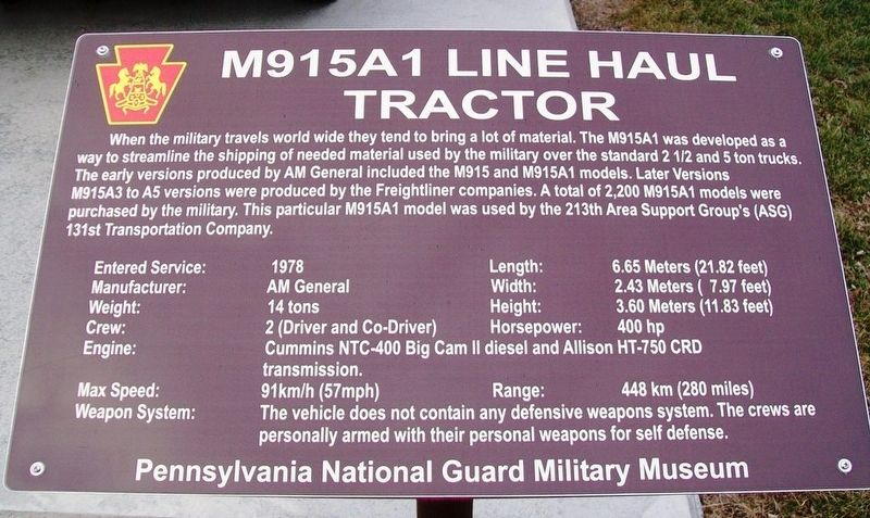 M915A1 Line Haul Tractor Marker image. Click for full size.