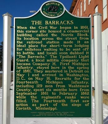 The Barracks / Ypsilanti in the Civil War Marker (side 1) image. Click for full size.