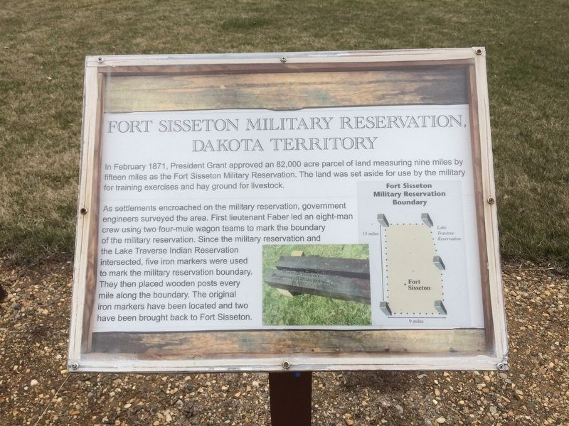 Fort Sisseton Military Reservation, Dakota Territory Marker image. Click for full size.