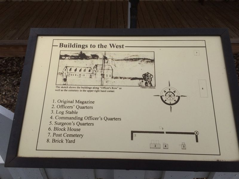 Map of buildings to the west including the Commanding Officer's Quarters image. Click for full size.